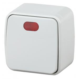 3-102-01 Intro Выключатель с подсветкой, 10А-250В, IP20, ОУ, Polo, белый (18/360/4320)