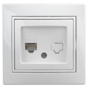 1Э-303-01 Intro Розетка информационная RJ45, СУ, б.л., Plano, белый (10/200/2400)