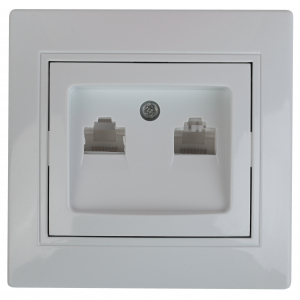 1-304-01 Intro Розетка информационная 2xRJ45, СУ, Plano, белый (10/200/2400)