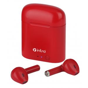 Intro BI1000R вкладыши ultra slim, Bluetooth-гарнитура с зар. кейсом, красные (120/2400)