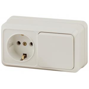 2-701-02 Intro Блок розетка+выкл. гориз. 10(16)А-250В, IP20, ОУ, Quadro, сл.кость (6/120/1440)