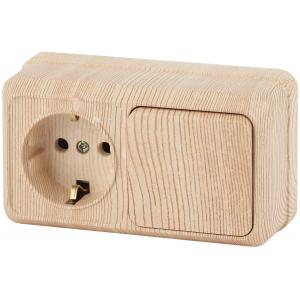 2-701-11 Intro Блок розетка+выкл. гориз. 10(16)А-250В, IP20, ОУ, Quadro, сосна (6/120/1440)
