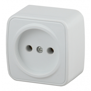 3-201-01 Intro Розетка 2P, 16А-250В, IP20, ОУ, Polo, белый (20/400/4800)