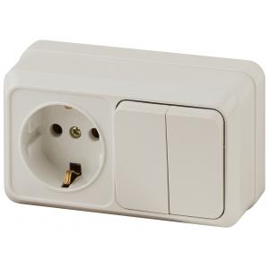 2-702-02 Intro Блок розетка+выкл. двойной гориз. 10(16)А-250В, IP20, ОУ, Quadro, сл.кость (6/120/144