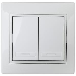 1Э-104-01 Intro Выключатель двойной, 10А-250В, СУ, б.л., Plano, белый (10/200/2400)