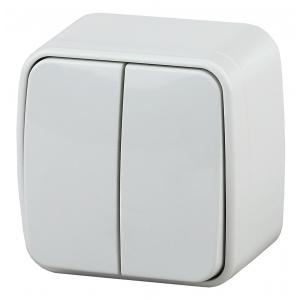 3-104-01 Intro Выключатель двойной, 10А-250В, IP20, ОУ, Polo, белый (18/360/4320)