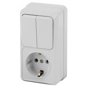 2-706-01 Intro Блок розетка+выкл. двойной верт. 10(16)А-250В, IP20, ОУ, Quadro, белый (6/120/1440)