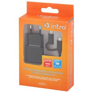 СС201 USB зарядки_25 Intro Зарядка сетевая 2 USB, 2,1A с кабелем microUSB/lightning (30/60/1440)