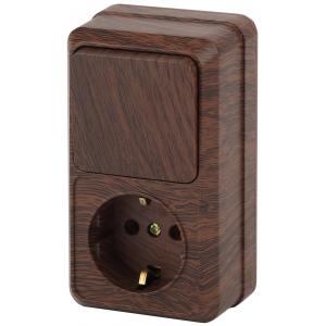 2-705-10 Intro Блок розетка+выкл. верт. 10(16)А-250В, IP20, ОУ, Quadro, венге (6/120/1440)