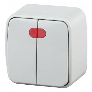 3-105-01 Intro Выключатель двойной с подсветкой, 10А-250В, IP20, ОУ, Polo, белый (18/360/4320)