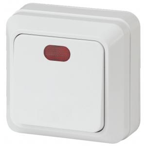2Э-102-01 Intro Выключатель с подсветкой, 10А-250В, ОУ, б.м.п., Quadro, белый (10/200/2400)
