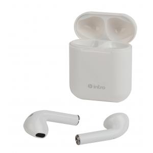 Intro BI1600W Bluetooth-гарнитура сенсорная ultra slim, с зар. кейсом, белая (120/2400)
