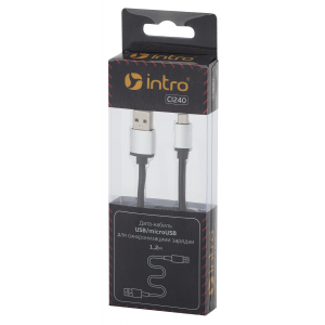 CI240 Кабели_25 Intro USB-microUSB, leather, 1,2м, черный (100/200/2400)