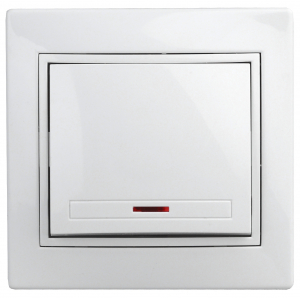 1Э-102-01 Intro Выключатель с подсветкой, 10А-250В, СУ, б.л., Plano, белый (10/200/2400)