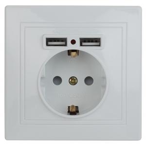 1-410-01 Intro Розетка+USB, IP20, СУ, Plano, белый (10/100/2000)