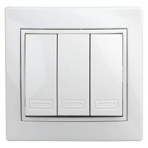 1Э-106-01 Intro Выключатель тройной, 10А-250В, СУ, б.л., Plano, белый (10/200/2000)
