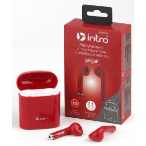 Intro BI-900R вкладыши с зар. кейсом, Bluetooth-гарнитура, красные (100/1200)
