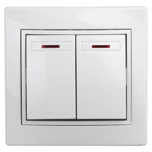 1Э-105-01 Intro Выключатель двойной с подсветкой, 10А-250В, СУ, б.л., Plano, белый (10/200/2400)