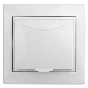 1А-207-01 Intro Розетка 2P+E Schuko с крышкой штор., 16А-250В, СУ, Al+Cu, Plano, белый (10/100/2500)