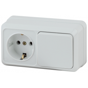 2-701-01 Intro Блок розетка+выкл. гориз. 10(16)А-250В, IP20, ОУ, Quadro, белый (6/120/1440)