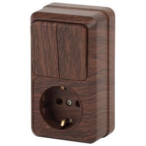 2-706-10 Intro Блок розетка+выкл. двойной верт. 10(16)А-250В, IP20, ОУ, Quadro, венге (6/120/1440)