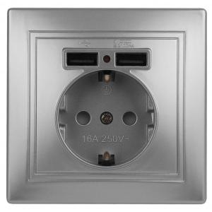 1-410-03 Intro Розетка+USB, IP20, СУ, Plano, алюминий (10/100/2400)
