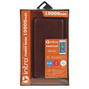 PB1001 USB зарядки_25 Intro Power Bank 10 000 mAh, brown leather (19/1710)