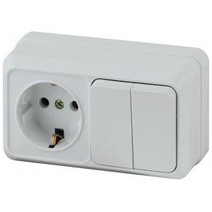 2-702-01 Intro Блок розетка+выкл. двойной гориз. 10(16)А-250В, IP20, ОУ, Quadro, белый (6/120/1440)