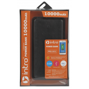 PB1001 USB зарядки_25 Intro Power Bank 10 000 mAh, black leather (19/1710)