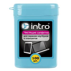 Intro Чистящие салфетки д/ экранов ноутбуков, планшетов 100 шт. (туба мини) (24/1680)