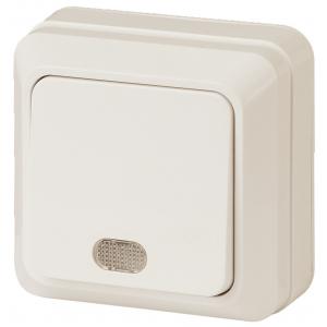 2-102-02 Intro Выключатель с подсветкой, 10А-250В, IP20, ОУ, Quadro, сл.кость (10/200/3600)