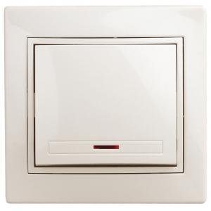 1-102-02 Intro Выключатель с подсветкой, 10А-250В, IP20, СУ, Plano, сл.кость (10/200/2400)