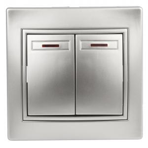 1-105-03 Intro Выключатель двойной с подсветкой, 10А-250В, IP20, СУ, Plano, алюминий (10/200/2400)