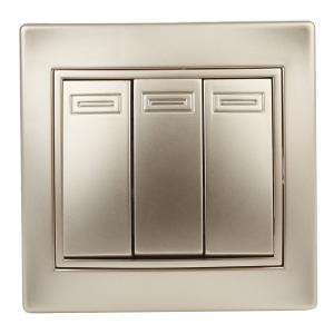 1-106-04 Intro Выключатель тройной, 10А-250В, IP20, СУ, Plano, шампань (10/200/2400)