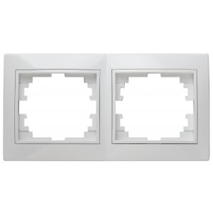 1-502-01 Intro Рамка на 2 поста гор., СУ, Plano, белый (20/400/4000)
