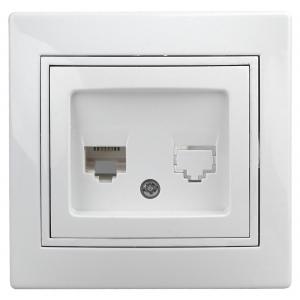 1-302-01 Intro Розетка телефонная RJ11, IP20, СУ, Plano, белый (10/200/2400)